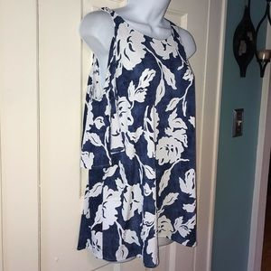 XL blue and white cold shoulder top